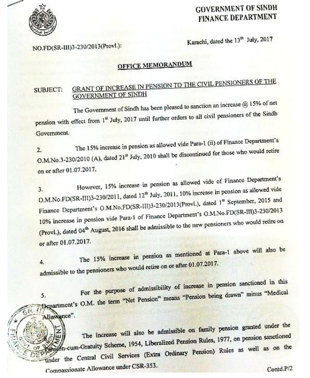 Notification Increase Pension 2017 Sindh Government Pensioners