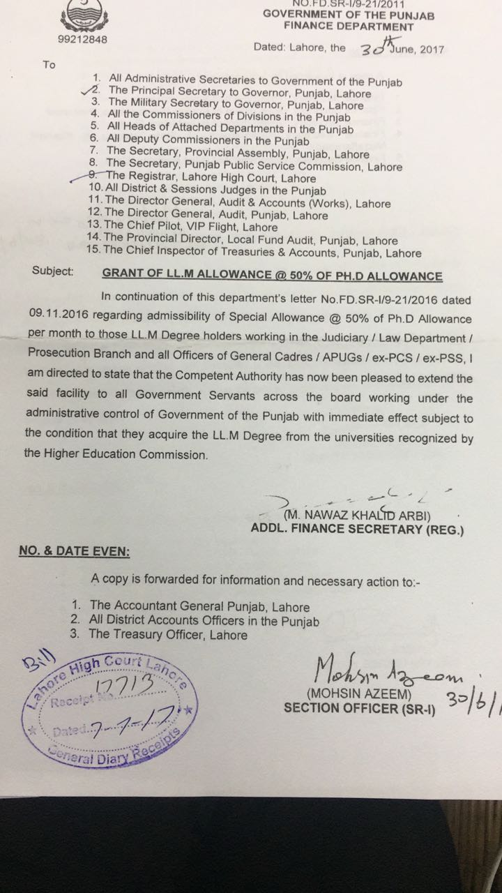 Notification of Grant of LL.M Allowance @ 50% of Ph.D Allowance