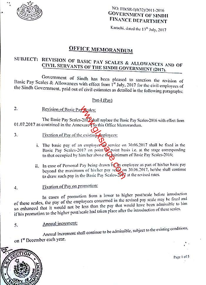 Notification Revised Pay Scale 2017 Sindh Government