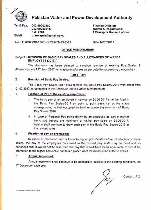 Notification Revised Pay Scale 2017 WAPDA Employees