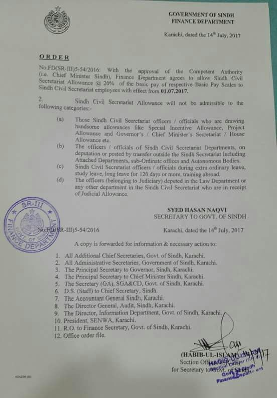 Notification of Sindh Civil Secretariat Allowance @ 20% of the Basic Pay