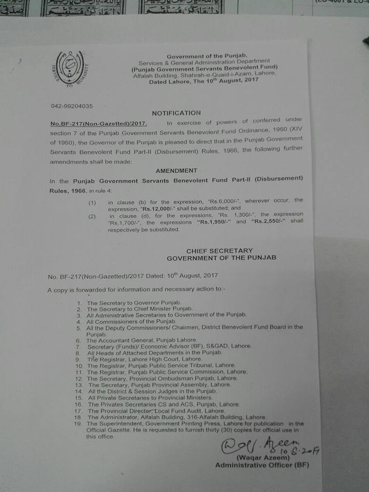 Notification of Amendment Punjab Govt Servants Benevolent Fund Part-I (Disbursement) Rules 1965