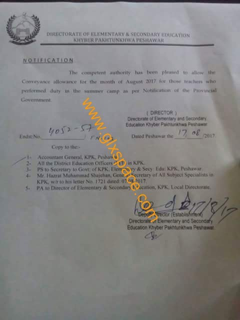 Notification of Conveyance Allowance KPK Teachers for August 2017