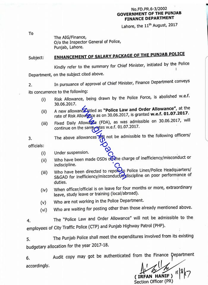 Notification of Enhancement Punjab Police Salary Package