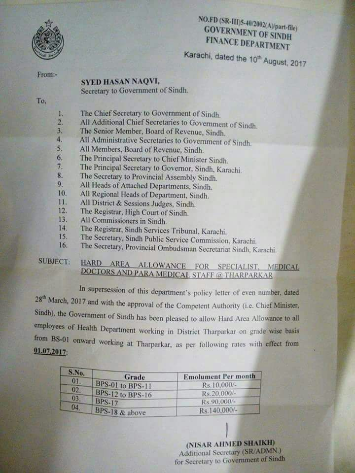 Notification of Grade Wise Hard Area Allowance for Specialists, Medical Doctors and Para Medical Staff Tharparkar Sindh