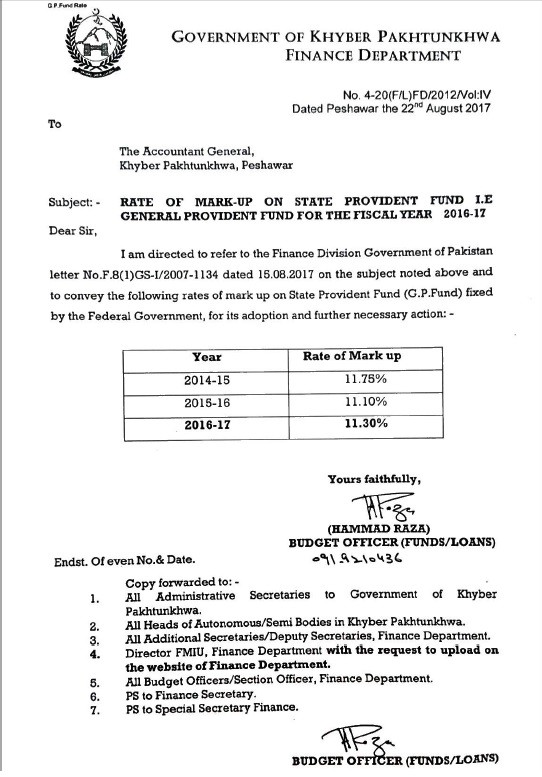Notification of Mark up Rates GPF 2016-17 KPK Government Employees