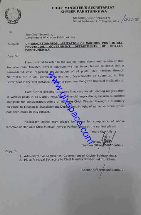 Notification of Upgradation of All Govt Employees of KPK BPS-01 to