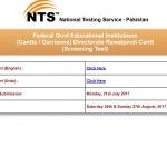 Announcement of Test Date FGEI Jobs 2017 through NTS