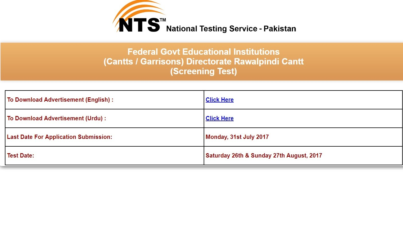 Schedule of Test for the Teaching Vacancies in Balochistan