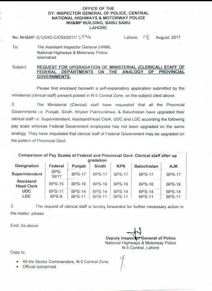 Request for Upgradation Clerical Staff Federal Departments on the Analogy of Provincial Governments