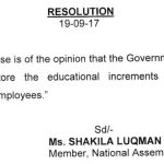 Resolution of National Assembly Regarding Restoration of Advance Increments (Educational Increments)