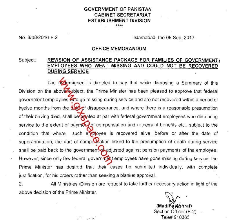 Notification of Assistance Package Missing Govt Employee