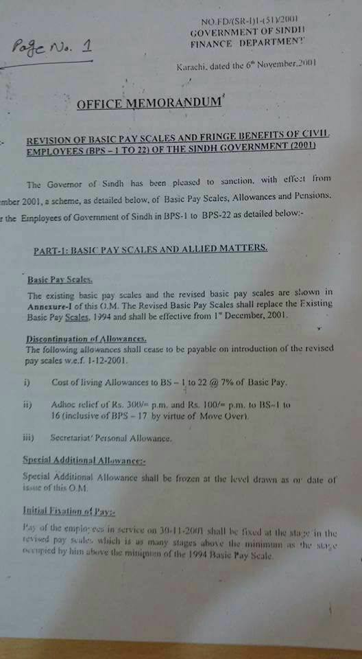 Notification Revised Pay Scale 2001 Sindh