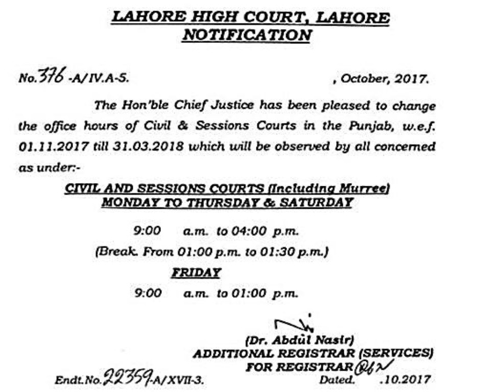 Office Hours Civil & Session Courts