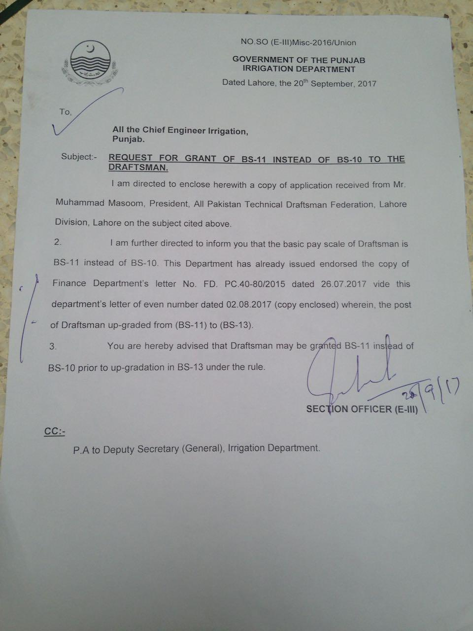 Request for Upgradation Draftsman from BPS-10 to BPS-11