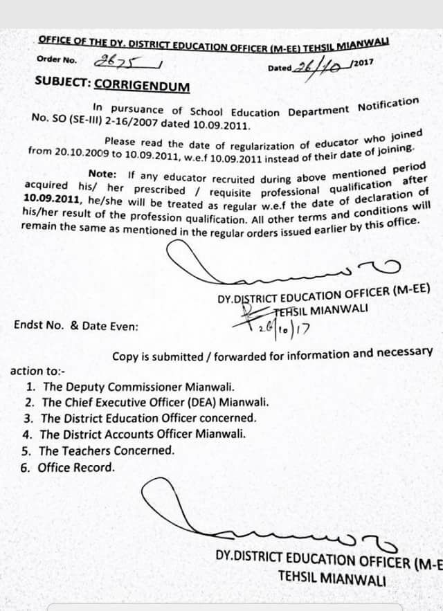 Amendment of Date of Regularization of Educators