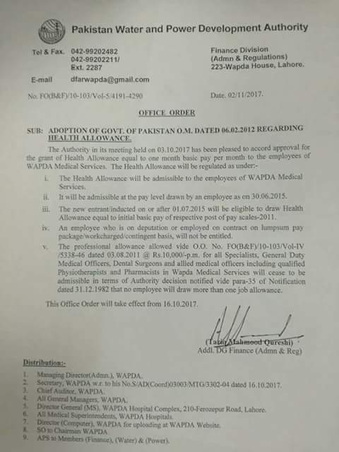 Notification of Health Allowance Equal to One Month Basic Pay to Employees of WAPDA Medical Service