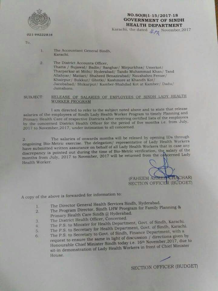 Notification of Release of Salaries of the Employees of Sindh Lady Health Worker Program