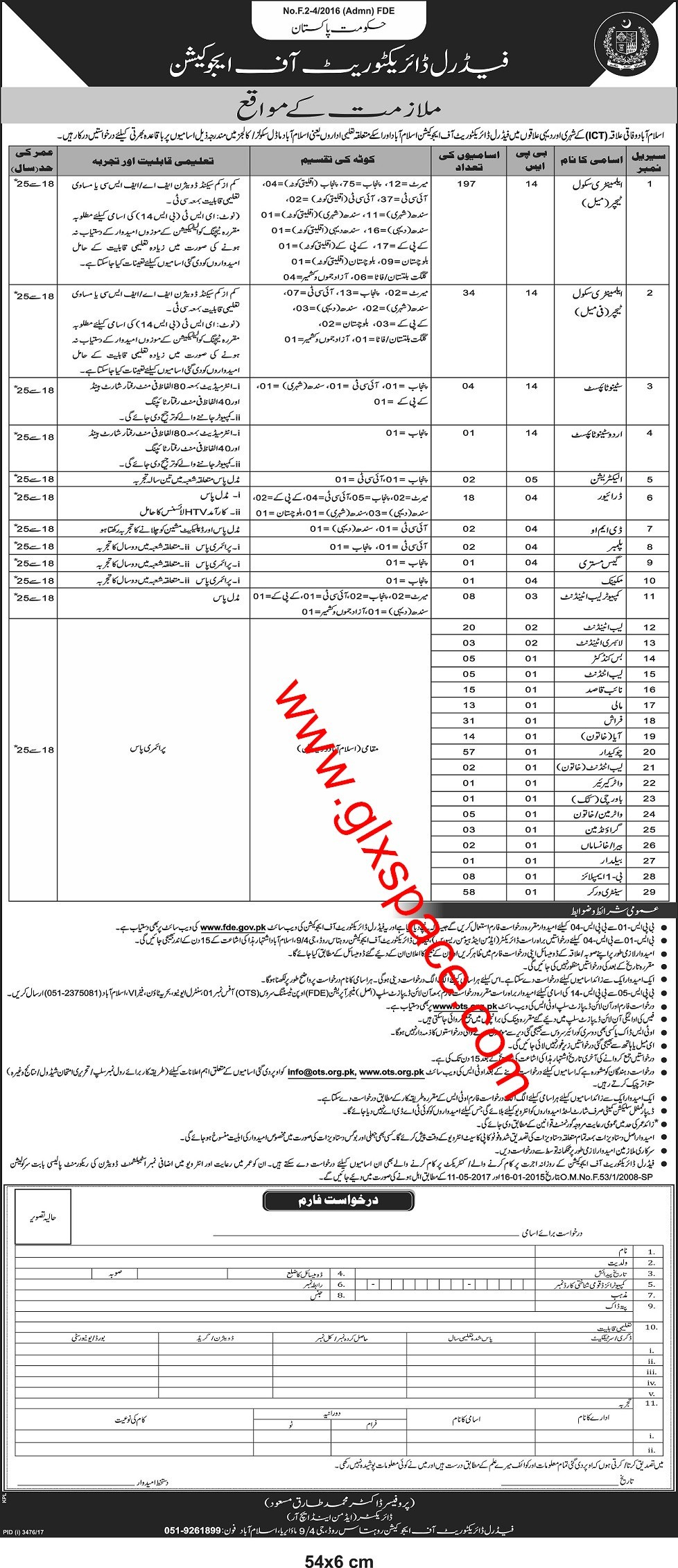 Federal Directorate of Education Vacancies 2018