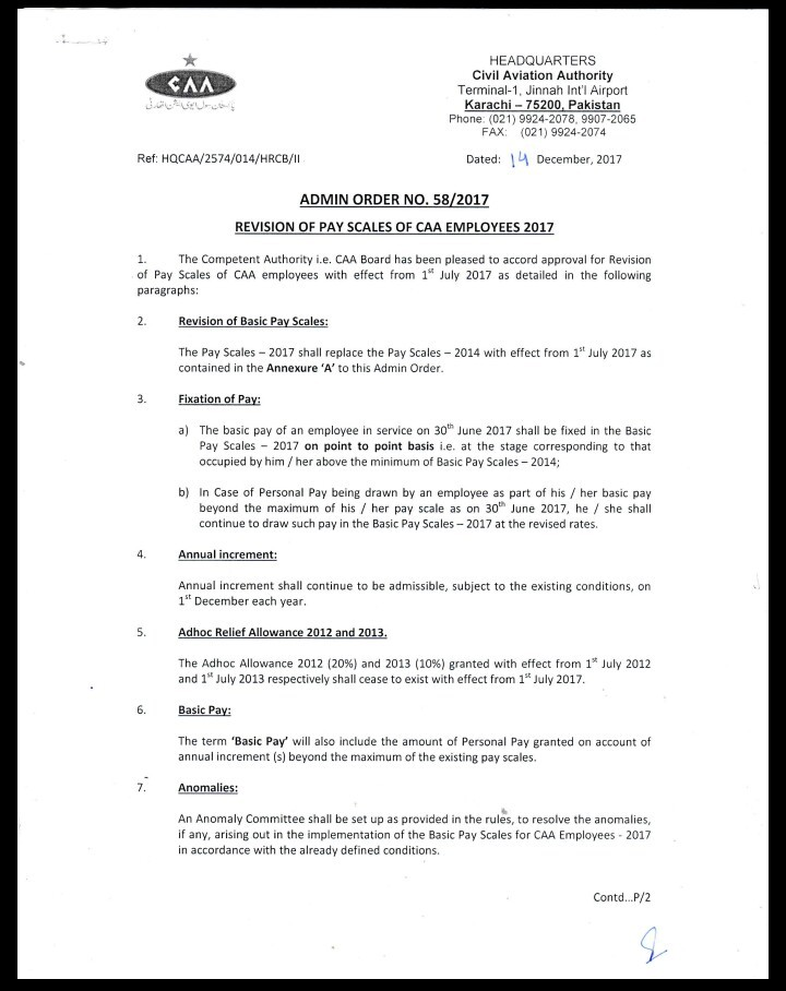 Notification of Revised Pay Scales 2017 CAA Employees