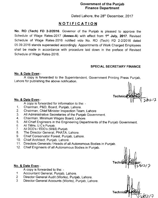 Notification of Schedule Wage Rates 2017 Government of the Punjab