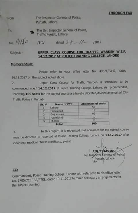 Allocation of Seats for Upper Class Course for Traffic Warden