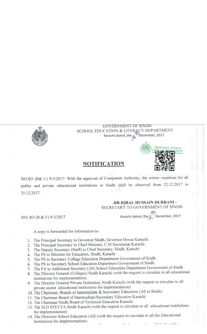 Notification of Winter Vacations 2017 for Public and Private Educational Institutions in Sindh