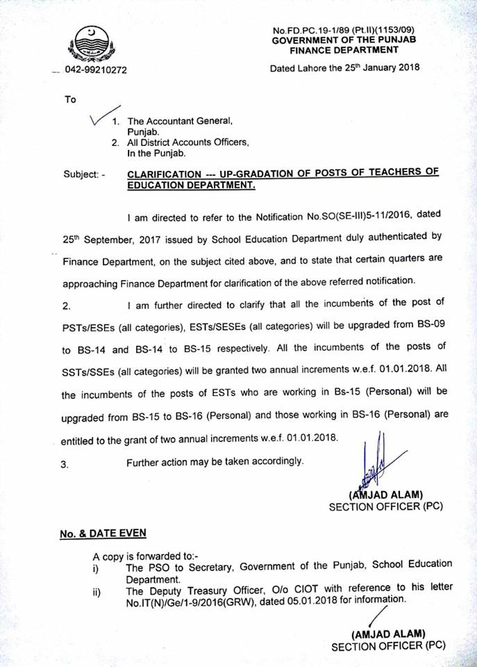 Clarification Upgradation Posts Teachers of Education Department