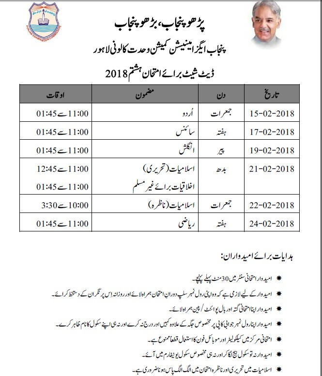 Date Sheet 2018 8th Class