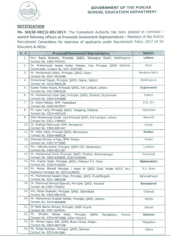 Notification of District Recruitment Committees for Interviews of Educators