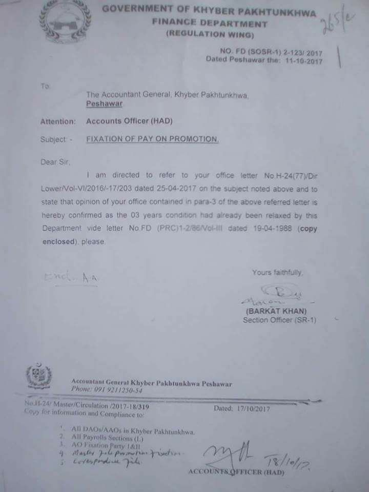 Fixation of Pay on Promotion KPK