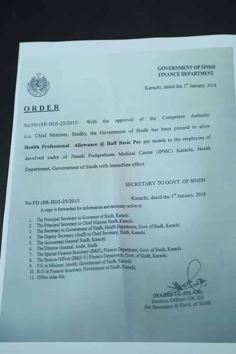 Notification of Health Professional Allowance Sindh @ Half Basic Pay