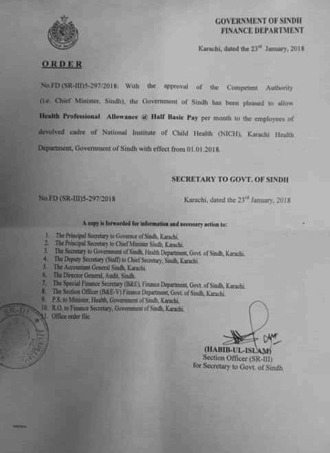 Notification of Health Professional Allowance to the Employees of devolved cadre of NICH