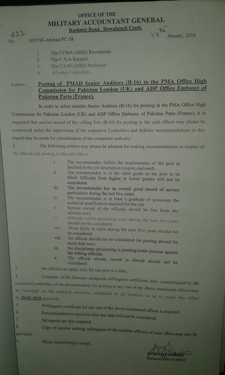Posting of PMAD Senior Auditors in the PMA Office High Commission for Pakistan London (UK) and ADP Office Embassy of Pakistan Paris (France)