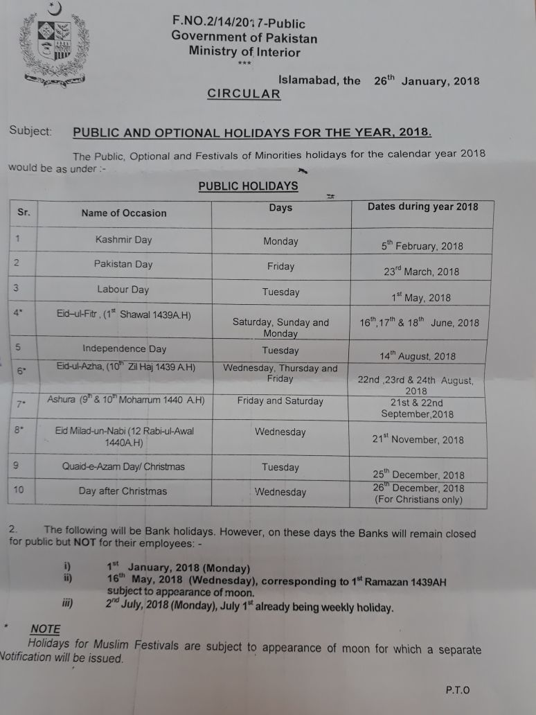 Notification of Optional & Public Holidays 2018