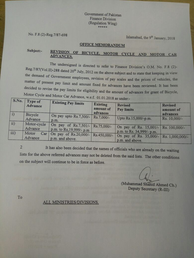 Notification of Revision Motor Car Advance, Motor Cycle Advance & Bicycle Advance 2018