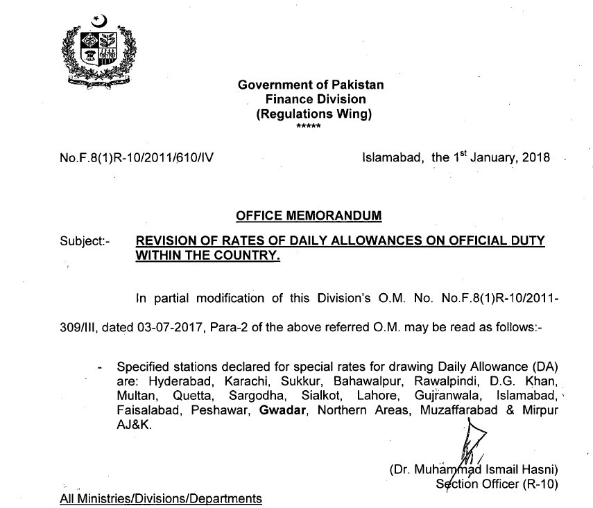 Revision of Rates of Daily Allowance on Official Duty within Country