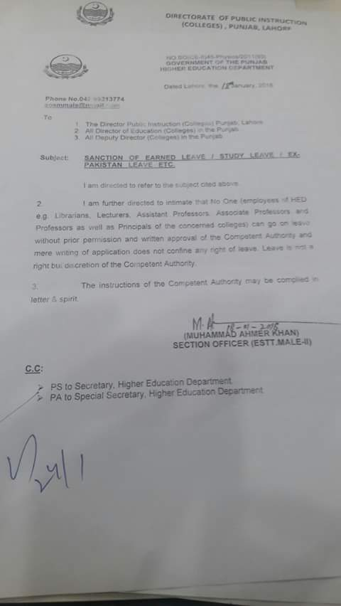 Notification of Sanction Earned Leave/Study Leave/Ex-Pakistan Leave