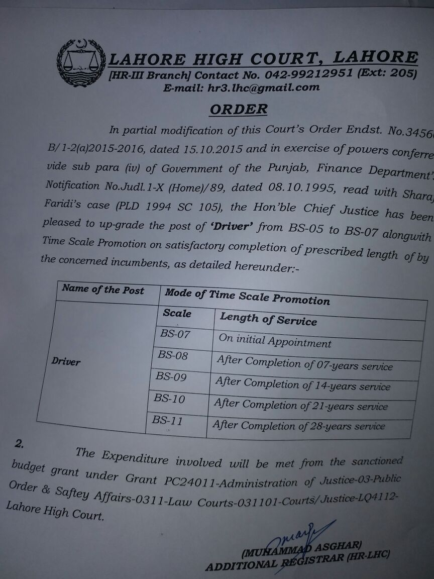 Notification of Upgradation Drivers from BPS-05 to BPS-07 and Time Scale Promotion