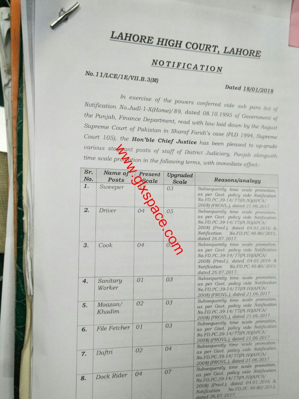 Notification of Upgradation of Various Stagnant Posts of District Judiciary