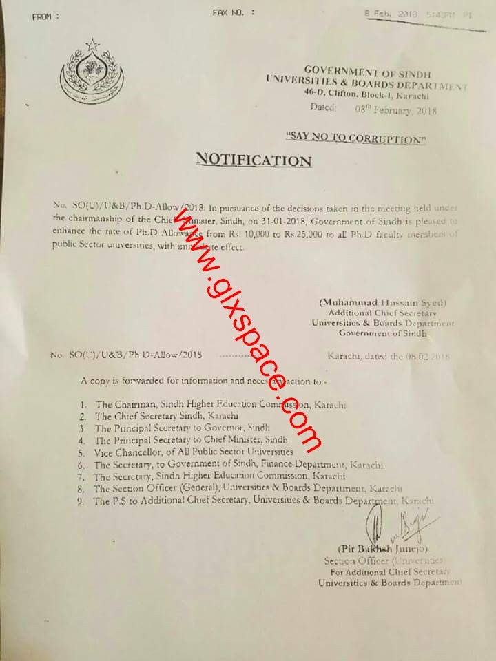 Notification of Rs. 25000 Monthly Ph.D Allowance for Ph.D Holders by Sindh Government