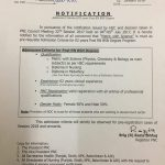 Notification of Admission Criteria for 02 Years Post RN BSN Degree Program