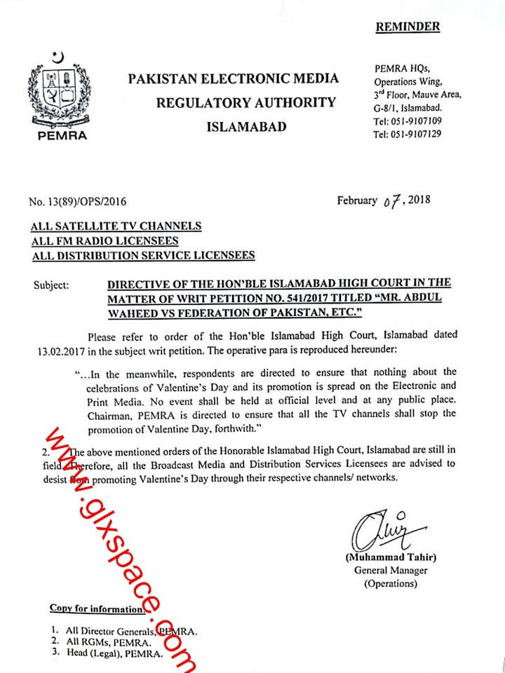 Notification of Ban on Celebrations Valentine Day and Promotion on Electronic & Print Media