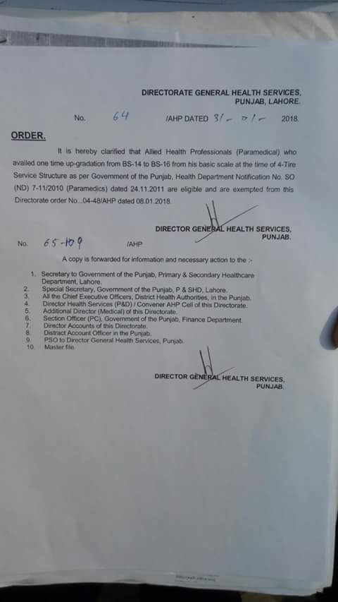 Clarification One Time Upgradation from BPS-14 to BPS-16 Allied Health Professional