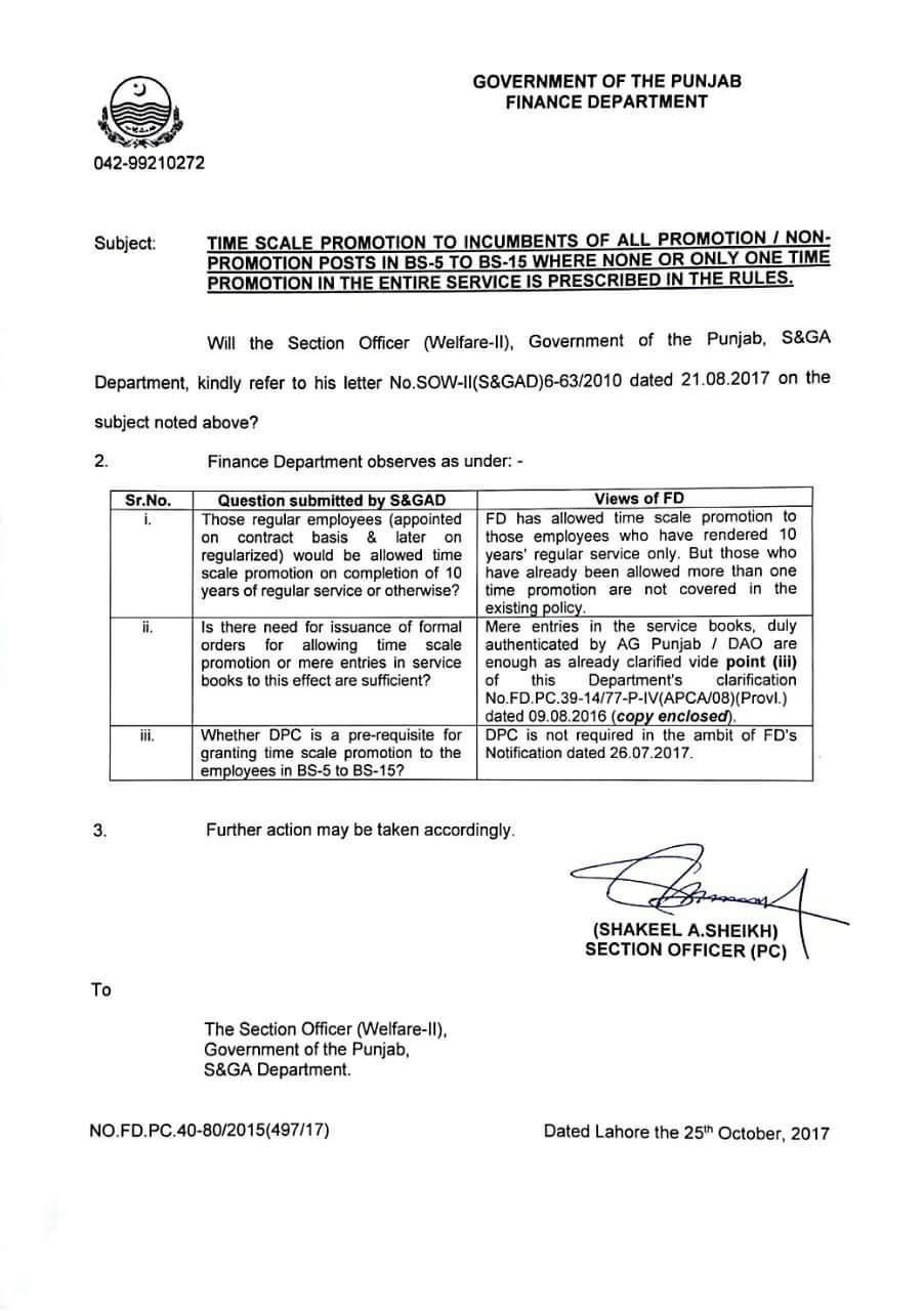 Clarification Time Scale Promotion BPS-05 to BPS-15 Punjab Govt Employees