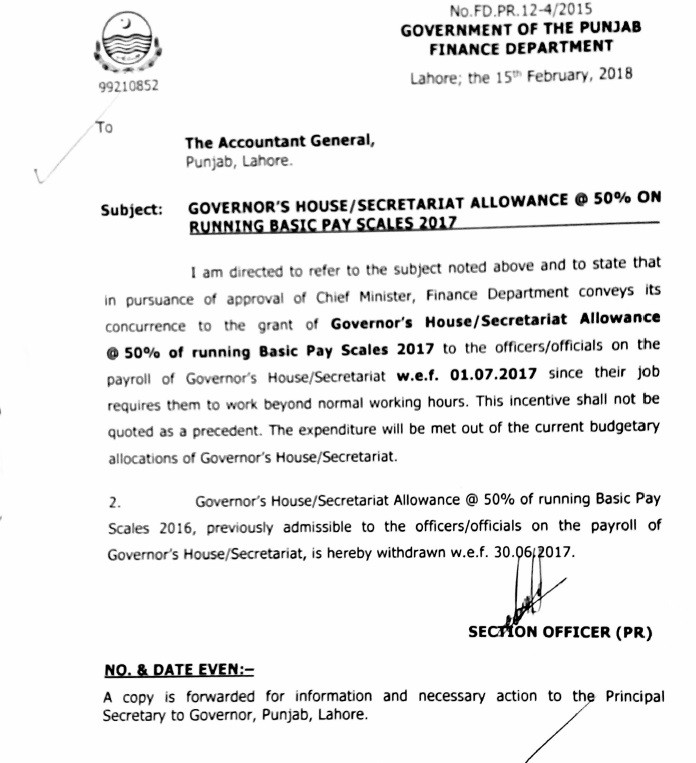 Notification of Governor House Office/Secretariat Allowance @ 50% of the Running Basic Pay Scales 2017