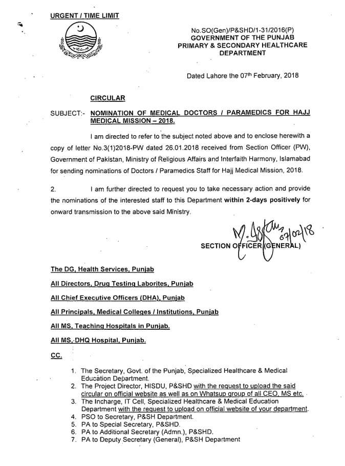 Notification of Sending Nominations of Doctors/ Paramedics Staff for Hajj Medical Mission 2018