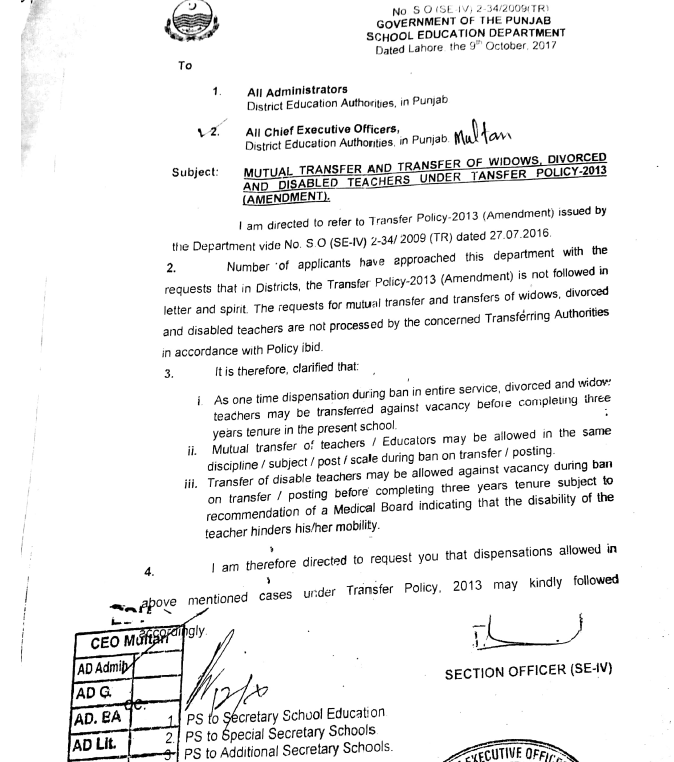 Notification Mutual Transfer and Transfer of Widows, Divorced and Disabled Teachers under Transfer Policy 2013 (Amendment)