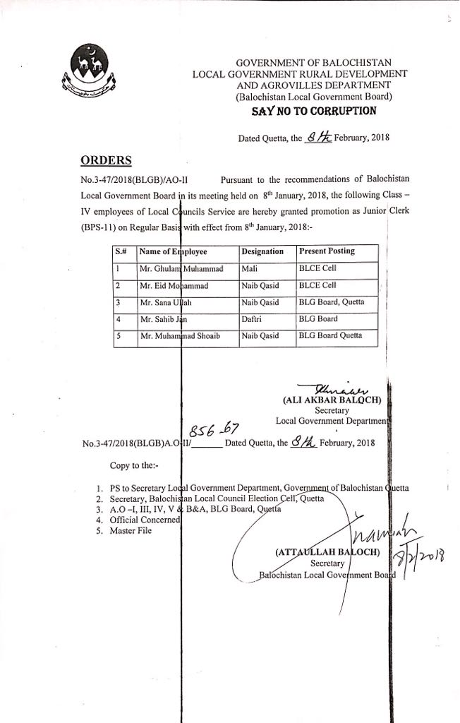 Notification of Promotion Class IV Employees as Junior Clerk-Local Councils Service Balochistan
