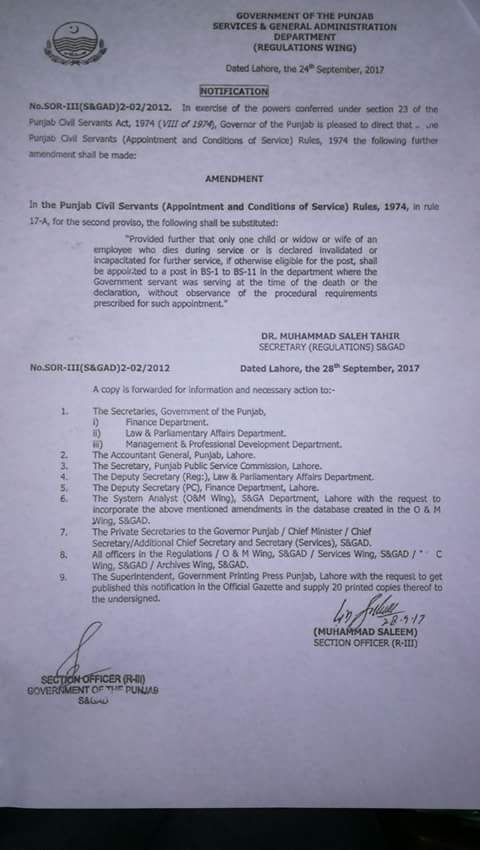 Notification of Punjab Civil Servants (Appointment and Conditions of Service) Rule 17-A